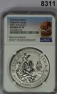 2020 MAYFLOWER 400TH ANNIVERSARY NGC CERTIFIED REVERSE PF70 MEDAL #8311
