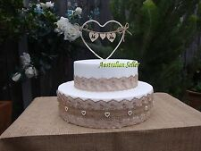 "Burlap Hessian Rustic Pearl Heart "" Mr & Mrs"" Wedding Cake Topper & Band Set"