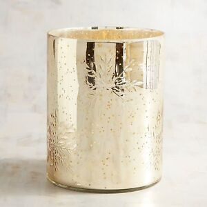 NEW Pier One 1 Etched Snowflakes Gold Mercury Glass Hurricane Candle Holder NWT