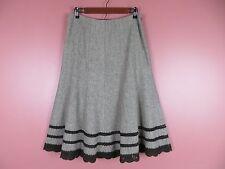 SK07986- TALBOTS Woman Wool Silk A-Line Skirt Knitting Decor Brown Beige Mix 8