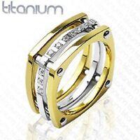 MENS SOLID TITANIUM RING GOLD CZ DETAIL ENGAGEMENT (J3)