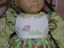 "Nellie Embroidered Monogram Name Flower Dress 18"" Doll clothes fit American Girl"