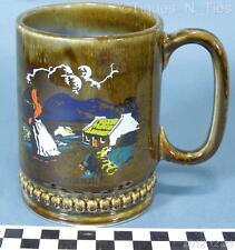 Wade Irish Porcelain Blue / Green / Brown Woman Country Side Drip Glaze Mug (FF)