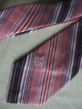 "Mens SHORT 53"" Pink Brown Striped Tie Necktie VIA RE ~ (4356) FREE US SHIP"