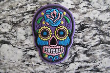 #5111F  Purple Sugar Skull Biker Motorcycle Embroidery Iron On Appliqué Patch