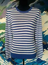 MOSSIMO Stripe Jumper - Blue/White - Button Long Sleeve Boat Neck Striped - L/14