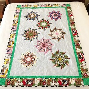"""Whimsical Cow Pinwheel Handmade Quilt Throw 72""""x51"""" Anthropomorphic One of Kind"""