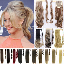 100% Real as Human Make Clip In Hair Extension Pony Tail Wrap Around Ponytail Nh