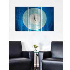 Large Aqua Blue & Silver Wall Clock - Contemporary Metal Wall Art by Jon Allen