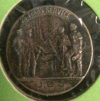 Circa 1920's 🔥 US Steel Company 25 Yrs 0.925 Sterling Silver Service Medal JBJ
