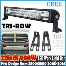 "22""inch 900W CREE LED Light Bar Tri-row Mount Brackets Fits Dodge Ram 2500/3500"