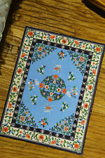 Unique Chinese Style Beautiful Doves Knots Blue Miniature Rug 1:12