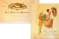 Christmas Post Card Lot (2) Vintage  Great Graphics and Messages See Photos