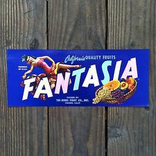 Vintage Original Sexy FANTASIA PINUP CRATE BOX CITRUS Label Unused NOS