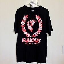 Famous Stars And Straps Red Floral Logo Short Sleeve T Shirt Men's Size L BLACK