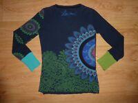 Women's Desigual Multi Print Long Sleeve V Neck Cotton Jersey Top L UK 14 P