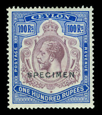 "CEYLON 1927 KGV 100rs blue & pur ""SPECIMEN"" ovpt. Sc# 247 (SG 360)  mint MH VF"