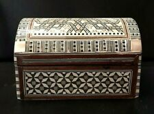 Vintage Egyptian Wooden Inlaid Treasure Mother Of Pearl Handmade Jewelry Box