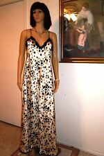 LUCIE ANN vintage Polyester Satin CHEETAH Nightgown BLACK & IVORY size M medium