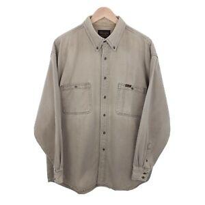 Mens Wrangler Beige Oversize Classic Retro Thick Denim Shirt Size 2XL XXL