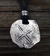 Piece of Eight Coin Pirate Pewter Pendant with adjustable black cord