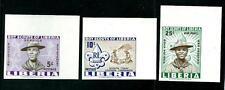 Scouts / Scautismo : Liberia 3 valori del 1961 MNH** non dentellati angolo fogl.