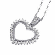 925 STERLING SILVER OPEN HEART NECKLACE PENDANT W/ ACCENTS/ 20'' SILVER CHAIN