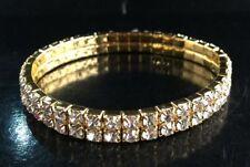 2 Righe Elastico bracciali dorato cristallo strass