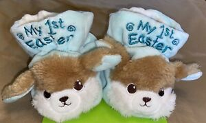 'My First Easter' Baby Booties Blue w/ Bunny - Super Soft - NEW