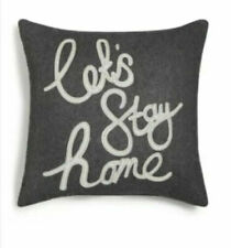"Holiday Lane Lets Stay Home Gray Square Pillow Gray Flannel 16"" x 16"""