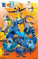 RIO 2 ~ CAST DANCING ORANGE BACKGROUND ~ 22x34 MOVIE POSTER ~ Cartoon Blu Jewel