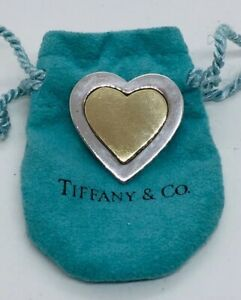 Tiffany & Co. Vintage Sterling Silver & 18k Yellow Gold Heart Pin