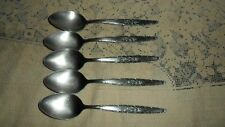 """5 T&N STYLECRAFT PATTERN SYF2 SINGLE ROSE 7 3/8"""" SOUP PLACE SPOONS STAINLESS"""