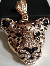 Gold finish Hip Hop Bling Ice Out LEOPARD Rapper Style fashion  pendant