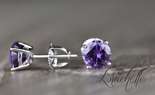 2.0 ct Round Cut Purple Alexandrite Screw Back Earring Studs 14K White Gold
