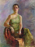 """Russischer Realist Expressionist Öl Leinwand """"Mädchen im Kleid"""" 80 x 60 cm"""