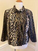 CHICOS Size 1 Petite Faux Fur Leopard Cropped Jacket Gorgeous FUN Animal Print