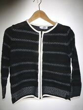LADIES PER UNA Tailored Fit CARDIGAN Zipped Black White - Size 8 - BNWT