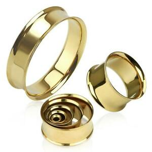 Gold Plated Over 316L Surgical Steel Double Flared Flesh Tunnel / Ear Stretcher