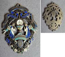 Médaille pendentif  argent et émail Communion Baptême silver enamel silver medal