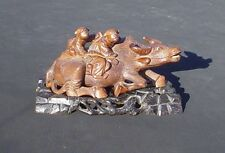 ANTIQUE CHINESE Hand Carved Wooden Water Buffalo 2 Figures On Back With Base