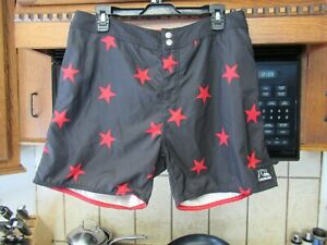 Quiksilver retro style surf board shorts Men's 33 waist Red Stars Short
