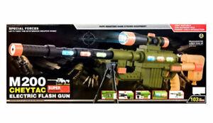 Kids Army Electric Flash Toy Gun Assault Rifle Light Sound-Vibration M200