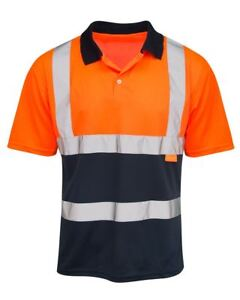 Hi Visibility Orange & Navy Polo Shirt  Hi Viz Reflective Two Tone Contrast Polo