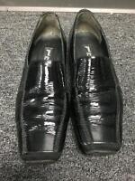 PAUL GREEN Women's Black Patent Leather Square Toe Slip On Loafers Sz 5.5 B3885