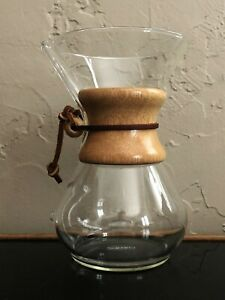 "CHEMEX USA PYREX GLASS 8.50"" POUR OVER COFFEE MAKER URN POT MCM DESIGN"