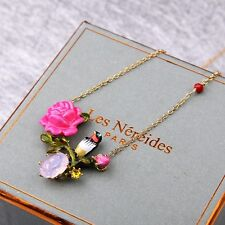LES NEREIDES LOVE GARDEN TIT ON A ROSE BRANCH GEM NECKLACE