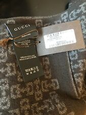 NEW GUCCI WOOL BROWN GRAY SIGNATURE PATTERN REVERSIBLE SCARF WRAP SHAWL