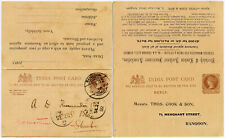 INDIA QV 1/4A STATIONERY REPLY CARD THOS.COOK + NORWICH ADVERT USED BURMA 1902