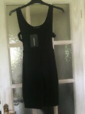 PRETTY LITTLE THING BLACK SCOOP NECK BUCKLE SIDE UNITARD SIZE 8 BNWT